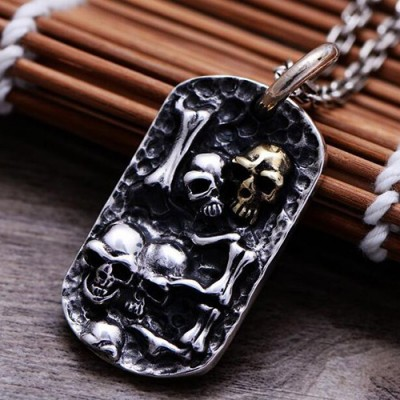 "Men's Sterling Silver Skulls Tag Necklace with Sterling Silver Anchor Link Chain 18""-30"""