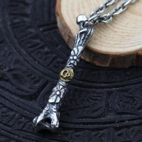 "Men's Sterling Silver Skull Bone Necklace with Sterling Silver Anchor Link Chain 18""-30"""