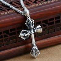"Men's Sterling Silver Pestle Bell Necklace with Sterling Silver Rolo Chain 18""-24"""