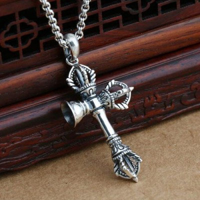"""Men's Sterling Silver Pestle Bell Necklace with Sterling Silver Rolo Chain 18""""-24"""""""