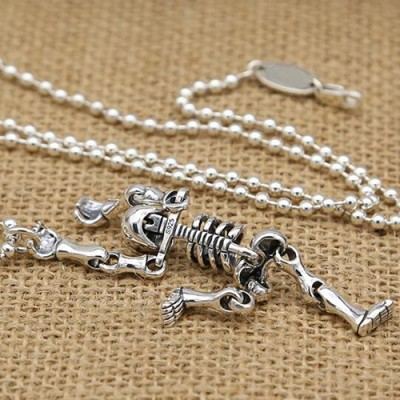 "Men's Sterling Silver Skeleton Necklace with Sterling Silver Bead Chain 18""-30"""