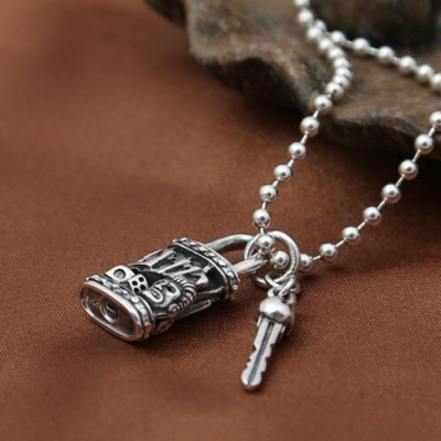 Men S Sterling Silver Skull Key And Lock Necklace