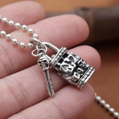 "Men's Sterling Silver Skull Key and Lock Necklace with Sterling Silver Bead Chain 18""-30"""