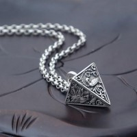 "Men's Sterling Silver Pyramid Necklace with Sterling Silver Rolo Chain 18""-30"""