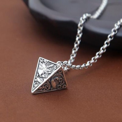 """Men's Sterling Silver Pyramid Necklace with Sterling Silver Rolo Chain 18""""-30"""""""
