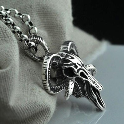 "Men's Sterling Silver Sheep Skull Necklace with Sterling Silver Rolo Chain 18""-30"""