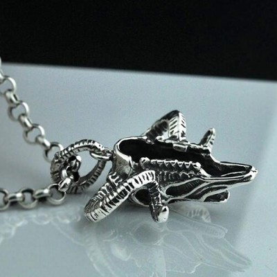 """Men's Sterling Silver Sheep Skull Necklace with Sterling Silver Rolo Chain 18""""-30"""""""