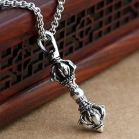 "Men's Sterling Silver Pestle Pendant Necklace with Sterling Silver Rolo Chain 18""-24"""