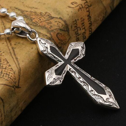 "Men's Sterling Silver Cross Necklace with Sterling Silver Bead Chain 18""-30"""