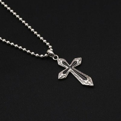 """Men's Sterling Silver Cross Necklace with Sterling Silver Bead Chain 18""""-30"""""""