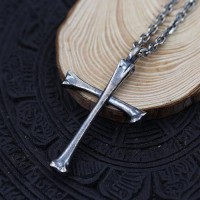 "Men's Sterling Silver Bone Cross Necklace with Sterling Silver Anchor Link Chain 18""-30"""