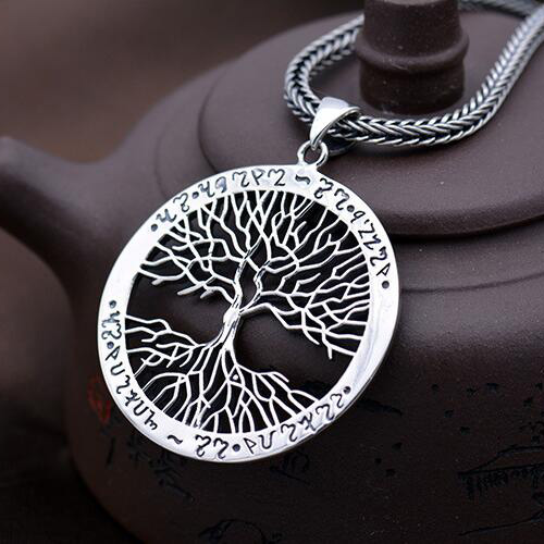 "Men's Sterling Silver Tree Necklace with Sterling Silver Wheat Chain 18""-28"""