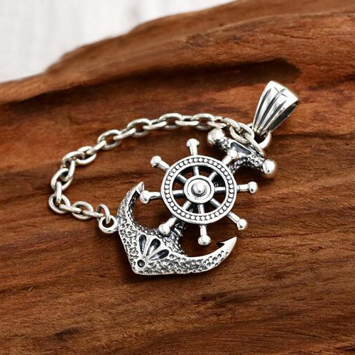 "Men's Sterling Silver Rudder Anchor Necklace with Sterling Silver Anchor Link Chain 18""-30"""