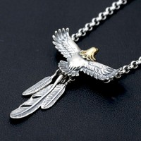"Men's Sterling Silver Eagle Feather Necklace with Sterling Silver Rolo Chain 18""-30"""