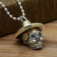 "Men's Sterling Silver Sombrero Skull Necklace with Sterling Silver Bead Chain 18""-30"""