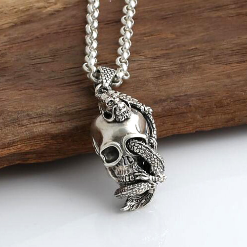 "Men's Sterling Silver Dragon Winded Skull Necklace with Sterling Silver Rolo Chain 18""-30"""