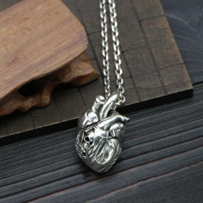 "Men's Sterling Silver Skull Heart Necklace with Sterling Silver Anchor Link Chain 18""-30"""