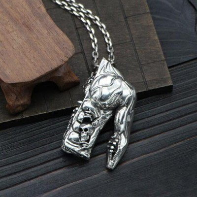 "Men's Sterling Silver Half Body Skull Necklace with Sterling Silver Anchor Link Chain 18""-30"""