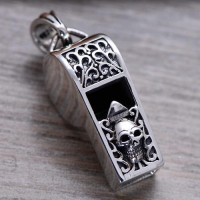 "Men's Sterling Silver Skull Whistle Necklace with Sterling Silver Bead Chain 18""-26"""