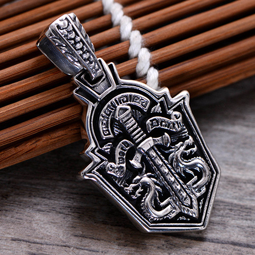 """Men's Sterling Silver Sword Shield Necklace with Sterling Silver Bead Chain 18""""-30"""""""