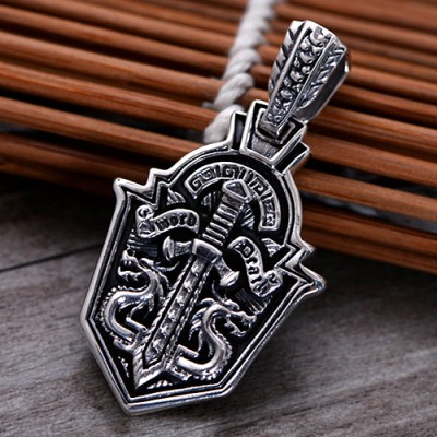 """Men's Sterling Silver Sword Shield Necklace with Sterling Silver Bead Chain 18""""-26"""""""