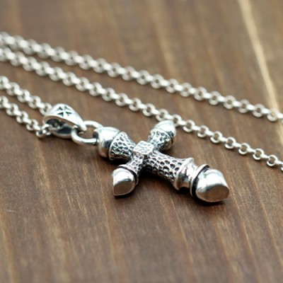 "Men's Sterling Silver Cross Necklace with Sterling Silver Rolo Chain 18""-30"""