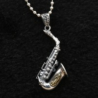 """Men's Sterling Silver Virgin Mary Saxphone Necklace with Sterling Silver Bead Chain 18""""-30"""""""