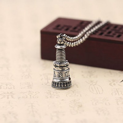 "Men's Sterling Silver Six Word Proverbs Stupa Necklace with Sterling Silver Rolo Chain 18""-30"""