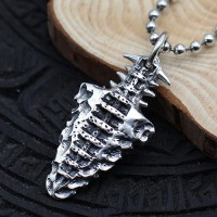 "Men's Sterling Silver Ancient Spearhead Necklace with Sterling Silver Bead Chain 18""-30"""