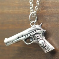 "Men's Sterling Silver Skull Gun Necklace with Sterling Silver Rolo Chain 18""-30"""