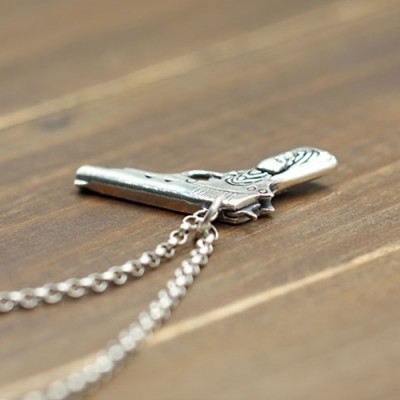 """Men's Sterling Silver Skull Gun Necklace with Sterling Silver Rolo Chain 18""""-30"""""""
