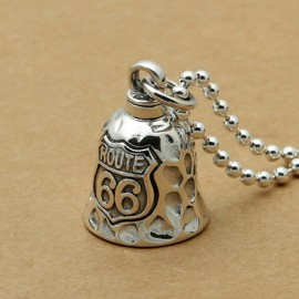 """Men's Sterling Silver Route 66 Bell Necklace with Sterling Silver Bead Chain 18""""-30"""""""