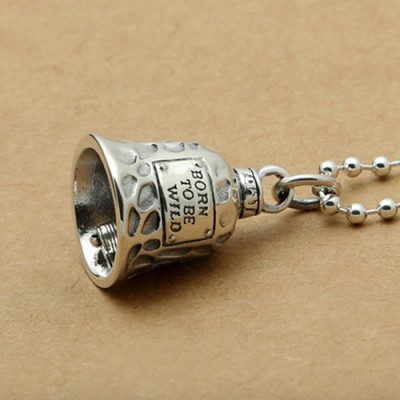 "Men's Sterling Silver Route 66 Bell Necklace with Sterling Silver Bead Chain 18""-30"""