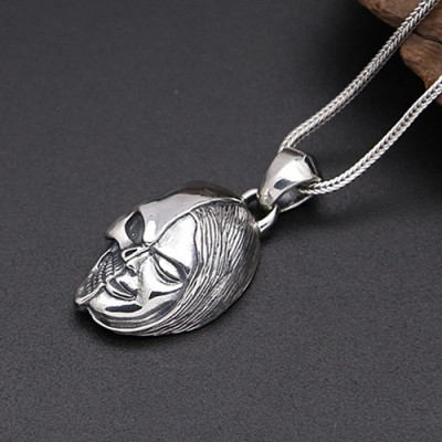 "Men's Sterling Silver Double-Faced Skull Necklace with Sterling Silver Wheat Chain 18""-30"""