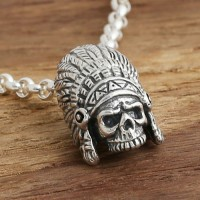 "Men's Sterling Silver Native American Skull Necklace with Sterling Silver Rolo Chain 18""-30"""