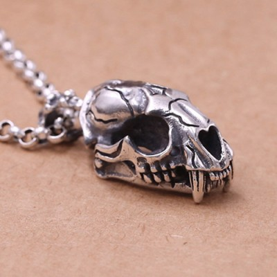 "Men's Sterling Silver Saber Tiger Skull Necklace with Sterling Silver Rolo Chain 18""-30"""