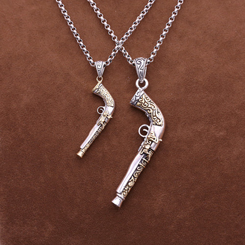 "Men's Sterling Silver Pistol Necklace With Sterling Silver Rolo Chain 18""-30"""