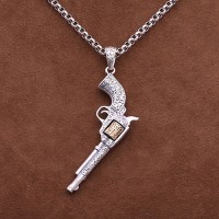 "Men's Sterling Silver Revolver Necklace with Sterling Silver Rolo Chain 18""-30"""