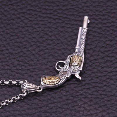 """Men's Sterling Silver Revolver Necklace with Sterling Silver Rolo Chain 18""""-30"""""""