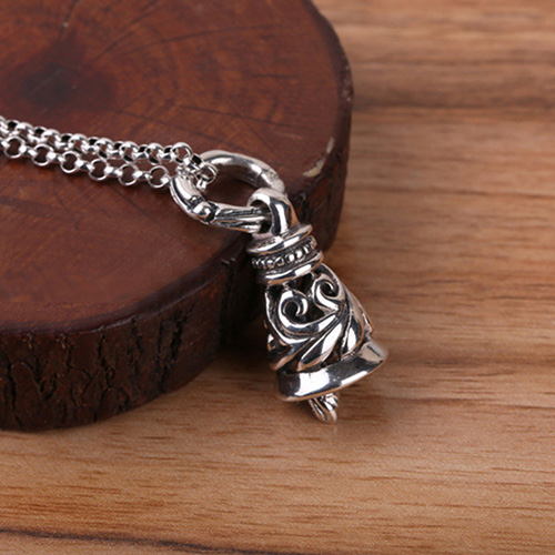 """Men's Sterling Silver Floral Bell Necklace with Sterling Silver Rolo Chain 18""""-30"""""""