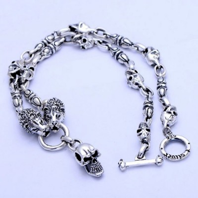 Men's Sterling Silver Lions and Skull Necklace 24""