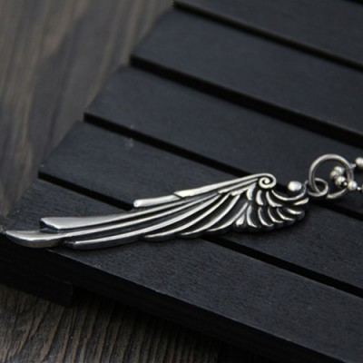 "Men's Sterling Silver Wing Necklace with Sterling Silver Bead Chain 18""-30"""