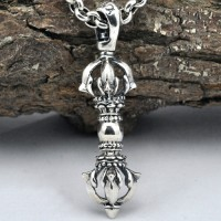 "Men's Sterling Silver Vajra Necklace with Sterling Silver Rolo Chain 18""-30"""