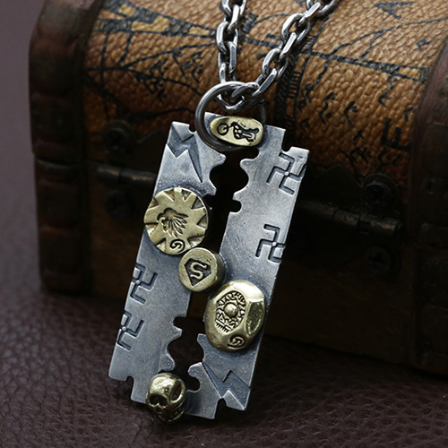 """Men's Sterling Silver Razor Blade Necklace with Sterling Silver Anchor Link Chain 18""""-30"""""""