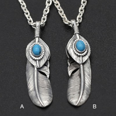 "Men's Sterling Silver Turquoise Feather Necklace with Sterling Silver Anchor Link Chain 18""-30"""