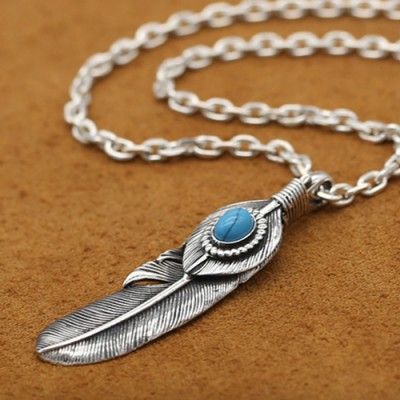 """Men's Sterling Silver Turquoise Feather Necklace with Sterling Silver Anchor Link Chain 18""""-30"""""""