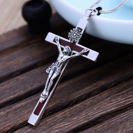 """Men's Sterling Silver Sandalwood Jesus Cross Pendant Necklace with Sterling Silver Wheat Chain 18""""-30"""""""