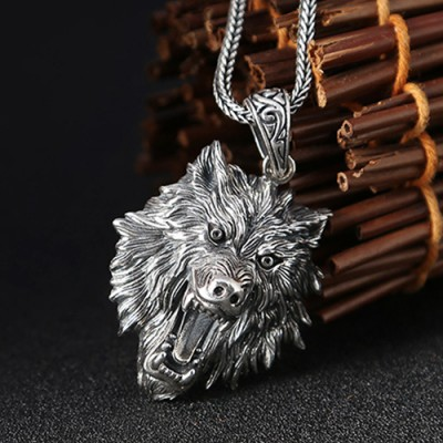 "Men's Sterling Silver Wolf Head Necklace with Sterling Silver Wheat Chain 18""-30"""