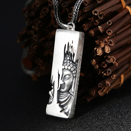 "Men's Sterling Silver Buddha Necklace with Sterling Silver Wheat Chain 18""-30"""