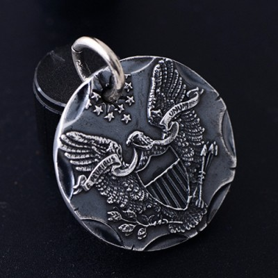 """Men's Fine Silver Eagle Tag Necklace with Sterling Silver Anchor Link Chain 18""""-30"""""""